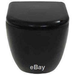 VidaXL Wall-Hung Toilet Ceramic Black Home Bathroom Furniture WC Seat Fixture