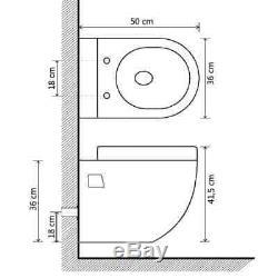 VidaXL Wall-Hung Toilet Ceramic White Home Bathroom Furniture WC Seat Fixture
