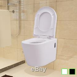 VidaXL Wall Hung Toilet Suspended Bidet Bathroom Furniture Ceramic White/Black