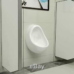 VidaXL Wall Hung Urinal with Flush Valve Ceramic White Wall-mounted Urinal