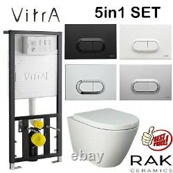 Vitra 1.27m Concealed Cistern Wc Frame With Resort Rimless Wall Hung Toilet Pan