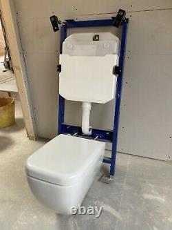 Vitra Wall Hung Toilet, Concealed Cystern & Soft Close Seat