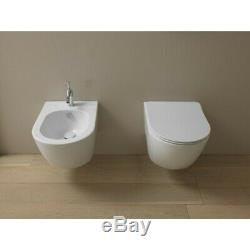 WC Modern White Ceramic Wall Hung Toilet Round WITH BIDET GSG LIKE