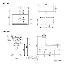 Wall Hung Basin Sink Toilet Bathroom Suite Set Cloakroom Close Seat Designer
