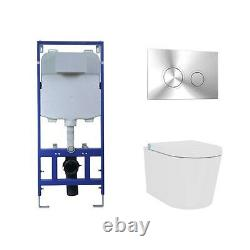 Wall Hung Bidet Toilet Combo with Cistern & Wall Frame Built in Dryer & Spray
