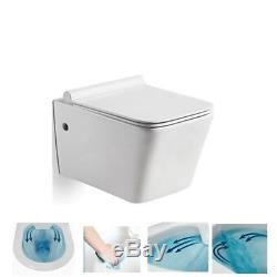 Wall Hung Compact Wc Toilet Rimless Pan With Slim Soft Closing Easy Release Seat