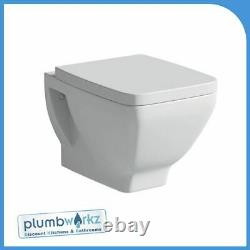 Wall Hung Cube Ceramic Toilet Wc Pan & Soft Close Seat Square Moods
