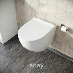 Wall Hung Modern Rimless Toilet Back To Wall Pan and Soft Close Seat Declan