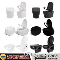 Wall Hung Mounted Toilet Ceramic WC Pan Seat Soft Close Mechanism Bathroom