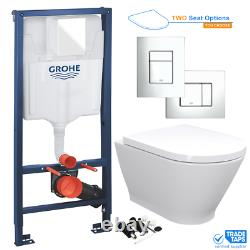Wall Hung RIMLESS Toilet Pan & Seat with GROHE 1.13m Concealed WC Cistern Frame