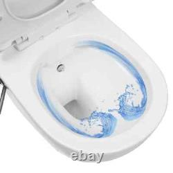 Wall Hung Rimless Toilet With Bidet Function Ceramic White Sleek Toilet For Home