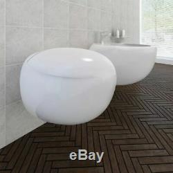 Wall Hung Toilet & Bidet Set White Ceramic I5B7