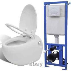 Wall Hung Toilet Ceramic Egg Design Concealed Cistern Frame White Bathroom WC