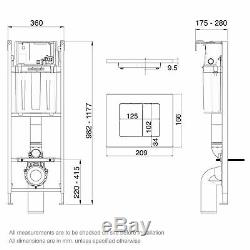 Wall Hung Toilet Concealed Cistern Frame WC 360mm 0.98m Height Dual Flush Plate