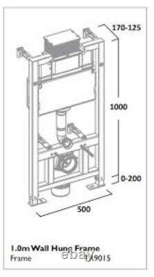 Wall Hung Toilet Concealed Cistern Frame WC Unit Adjustable Height 3 Sizes