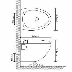 Wall Hung Toilet Egg Design Concealed Cistern Bathroom White/Black 59x41x39 cm