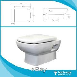Wall Hung Toilet WC Mounted Bathroom Ceramic White Wall Hung Concealed Cistern