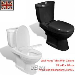 Wall Hung Toilet With Cistern Bathroom WC Soft Close Seat White/Black 70x40x76cm
