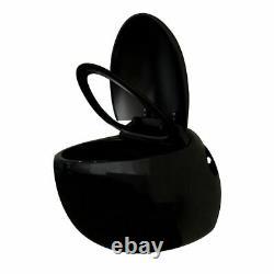 Wall Hung WC Toilet Unique Egg Design Soft Close Rimless Seat White Black Modern