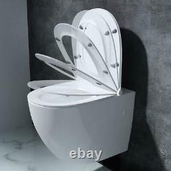 Wall Hung White Ceramic Toilet WC Bathroom 400x355mm With Soft Close Toilet Seat