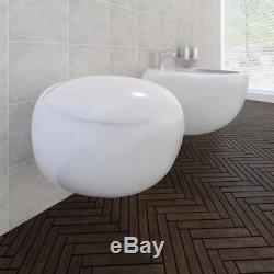 Wall Mounted Toilet Designer White Ceramic Floating Modern Hung Gloss Egg Pod UK