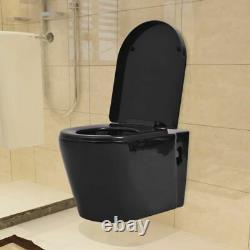 Wall-hung Toilet Ceramic Seat Bathroom Soft Close Coupled WC Pan White/Black UK