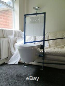 Wall hung concealed cistern suspended toilet set Chrome designer dual flush