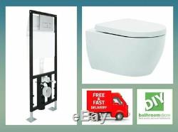 Wall hung pan toilet wall frame inc cistern modern round deluxe premium