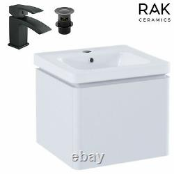 White 500 Wall Hung Mounted Basin Sink Vanity Unit 1 Drawer Bathroom Cabinet