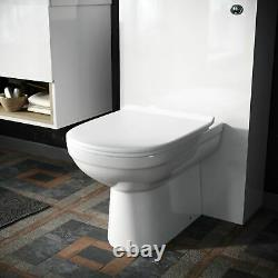 White Modern 610 mm Wall Hung Vanity Cabinet and WC Back To Wall Toilet Unit
