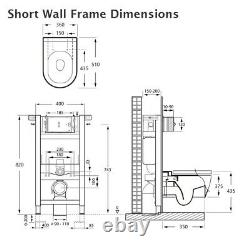 White Modern Round Wall Hung Mounted Toilet Wall Frame and Flush Plate