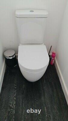 White shower room suite wall hung vanity unit tray screen mirror cabinet toilet