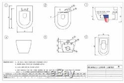 ZAFFIRO Rimless PAN Toilet Wall Mount Hung WC Pan soft seat 520mm